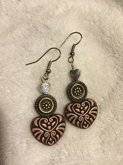 Copper, Brass & Silver Earrings