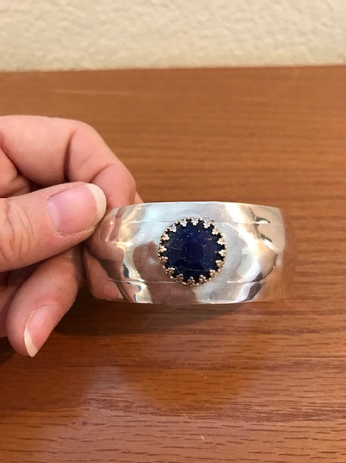 Sterling Silver Cuff Bracelet with Lapis Lazuli