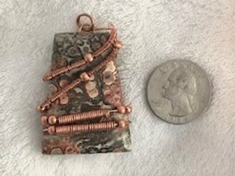 Leopard Skin Jasper Wrapped in Copper Wire Pendant