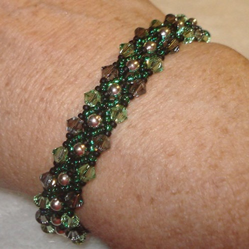 Green & Smokey Beaded Bracelet