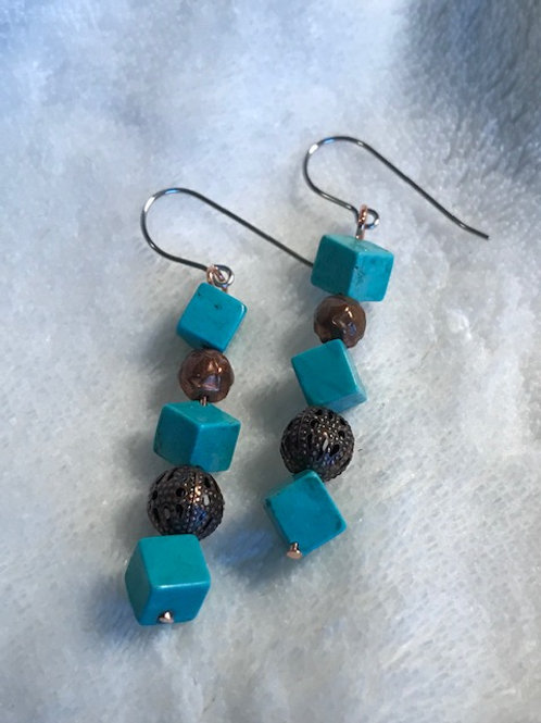 Turquoise & Copper Earrings