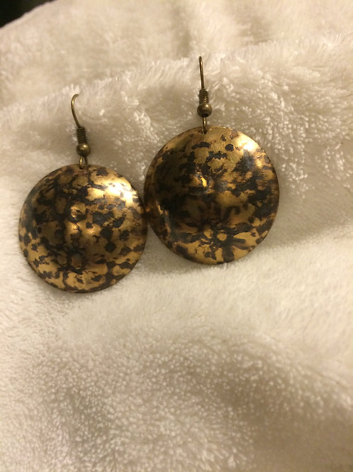 Patterned Brass Dome Earrings