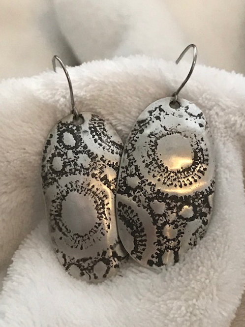 Textured Sterling Silver Earring with Oxidation Patina