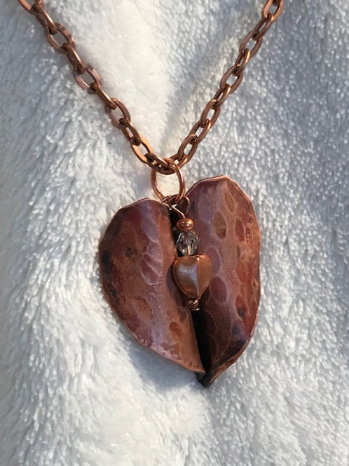 Textured Copper Heart Necklace