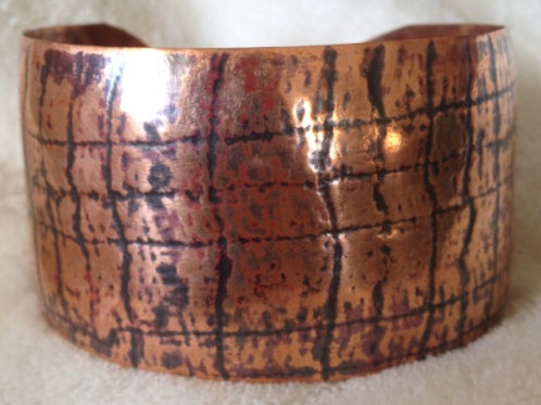 Woven Fabric Copper Bracelet with Patina