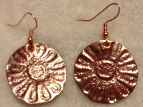Pressed Copper Flower Earrings