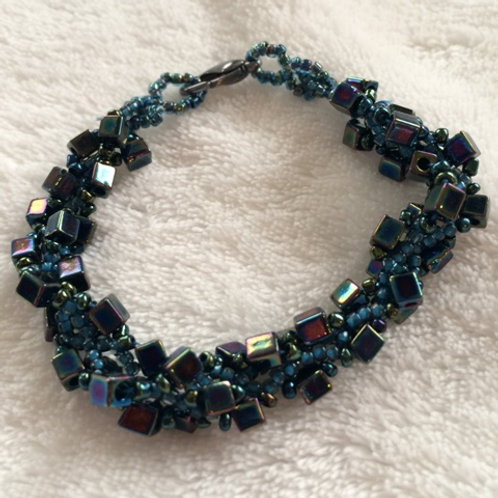 Irridescent Square Bead Bracelet