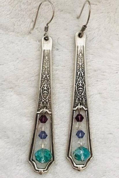 Custom Sterling Silver Spoon Handle Earrings with Crystals