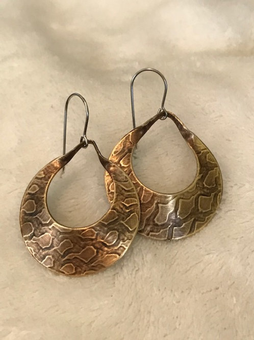 Textured Brass Loops with Natural Patina