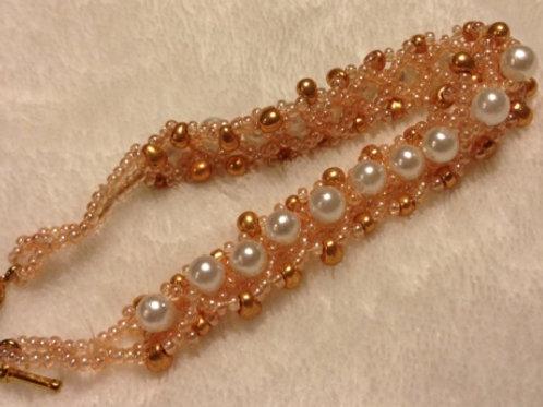 Peach Colored Beaded Bracelet