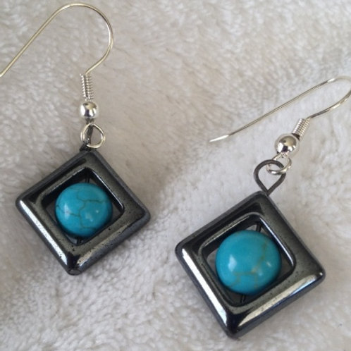 Hematite and Turquoise Earrings #2