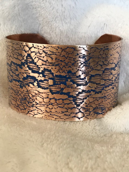 Hand Textured Copper Cuff with Lapis Patina