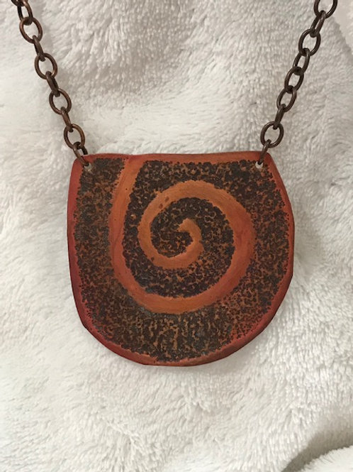 Hand Textured Copper Swirl Pendant