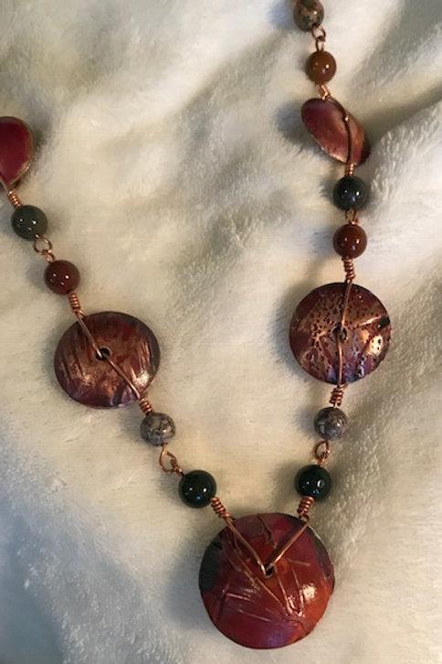 Copper Button Bead with Semi Precious Stones Necklace