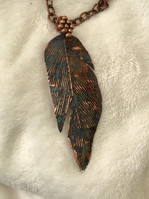 Copper Feather with Patina