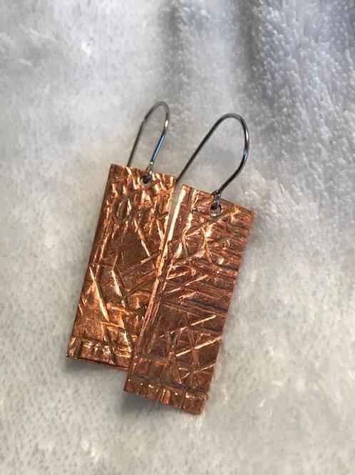 Hammer Textured Copper Earrings