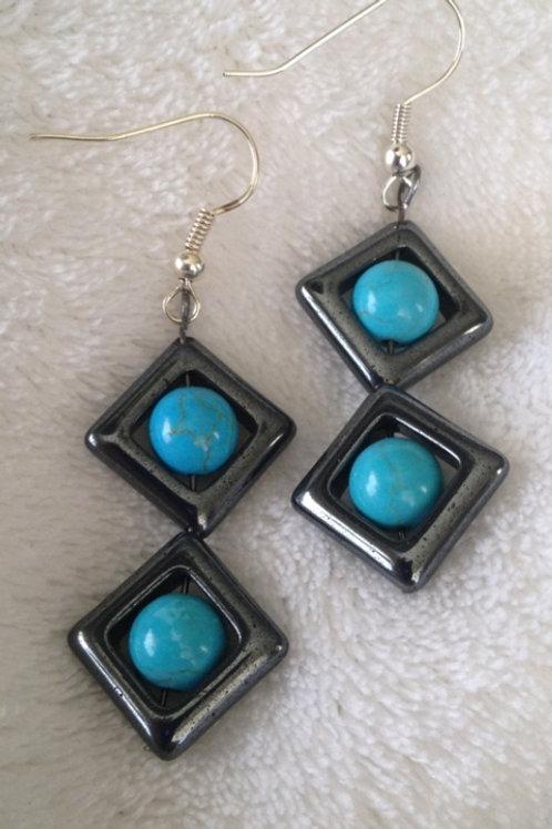 Hematitie & Turquoise Earrings