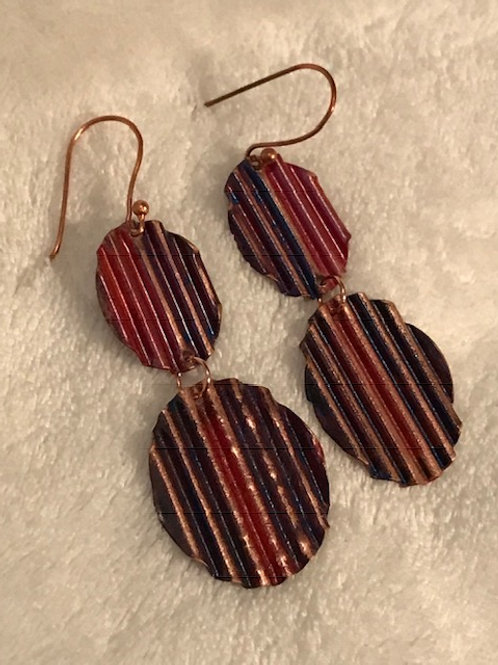Crinkled Copper Earrings with color Patina #1