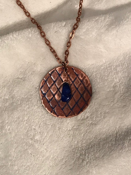 Copper Disc with Lapis Patina Necklace