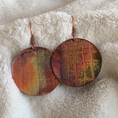 Irredescent Patina Copper Earrings