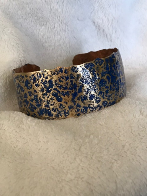 Hammered Brass Cuff with Lapis Patina