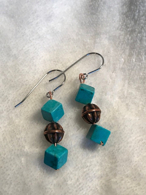 Turquoise Cubes with Copper Bead Earrings