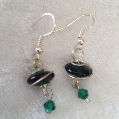 Green wrapped Earrings