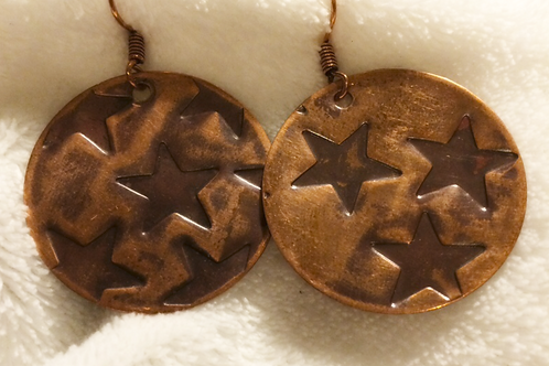 Antiqued Copper Star Disc Earrings
