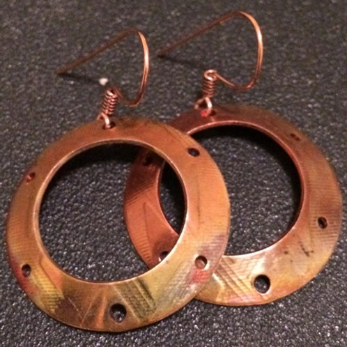 Copper Diamond Pattened with Holes Earrings