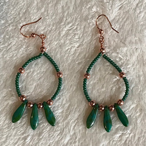 Peruvian Turquois and Copper Earrings