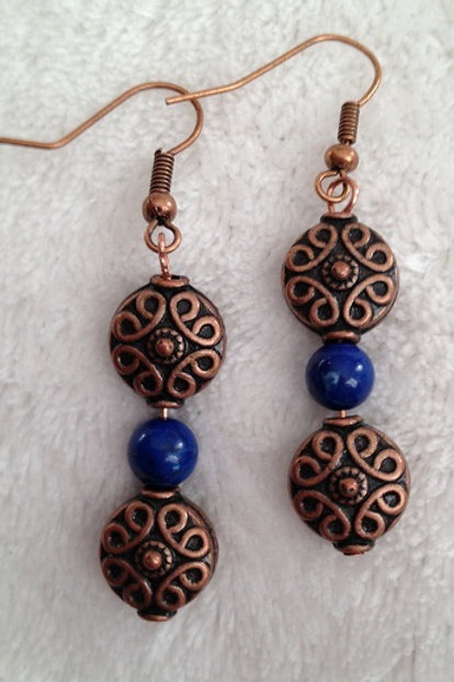 Copper and Blue Bead Earrings