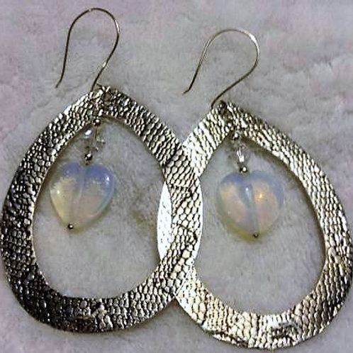 Large Oval Textured Earrings with Heart
