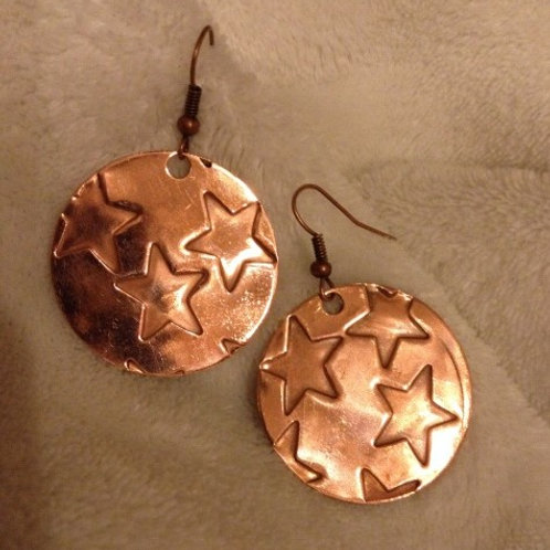 Copper Dome Earrings with Stars