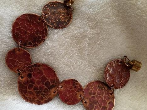 Hammered Copper Disc Bracelet & Earrings SEt