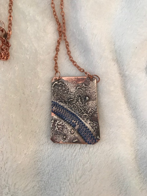 Copper Pendant with Melted Silver