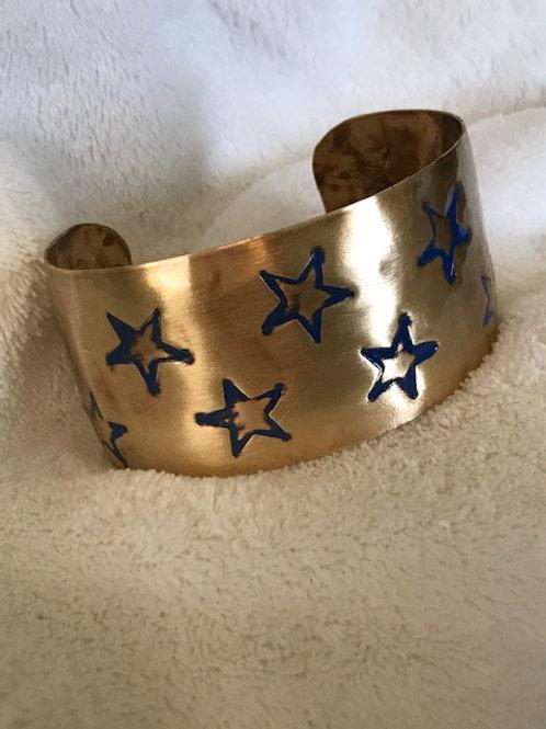 Stars on Brass with Lapis Patina Cuff Bracelet