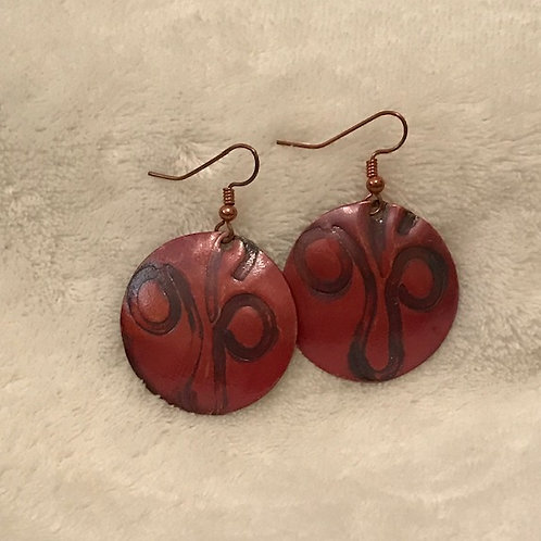 Hand Textured Copper Earrings with Natural Red Patina