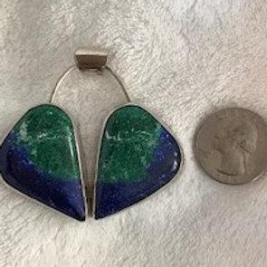Mirror Image Azurite and Malachite Pendant