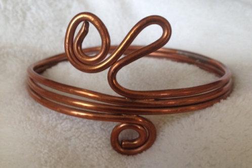Copper Coil Bangle Bracelet