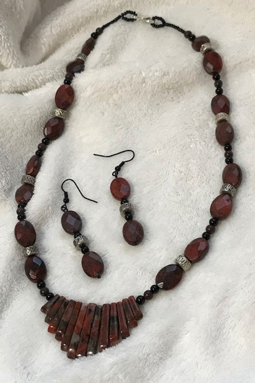 Brocade Jasper Fan Necklace & Earrings