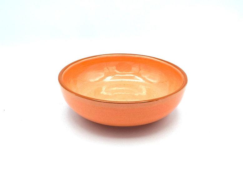 Schüssel - flach/ rund, volllasiert und lackiert, 15,5 cm