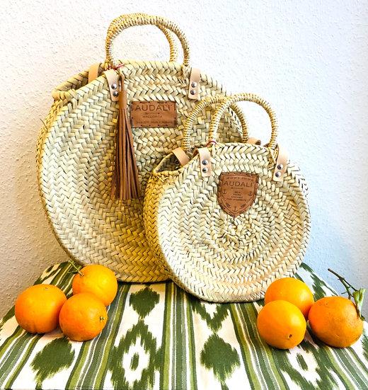AUDALI Mallorca - runde Korbtasche in zwei Größen, mit Lederhenkel, ab