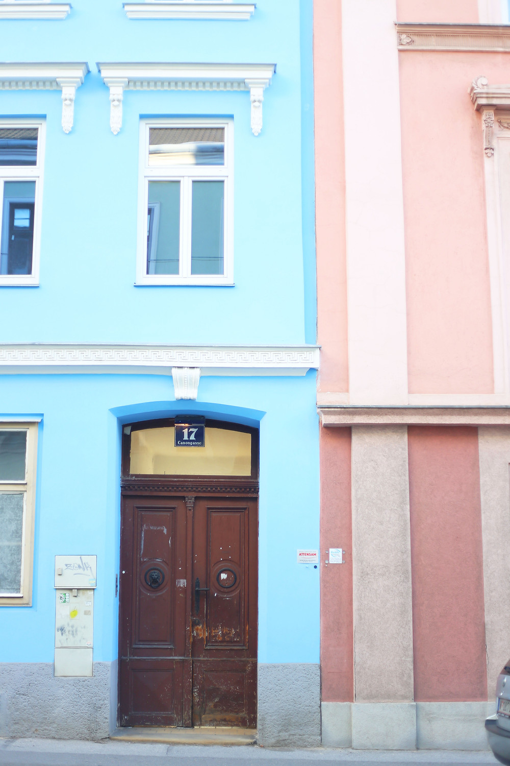 blue and pink building