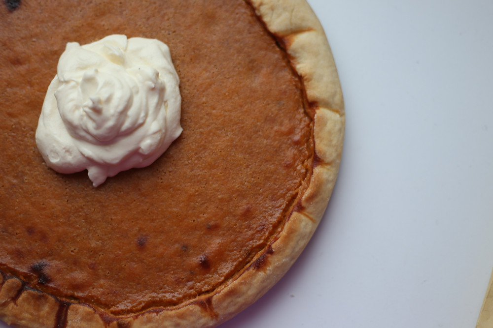 sweet potato pie and whipped cream