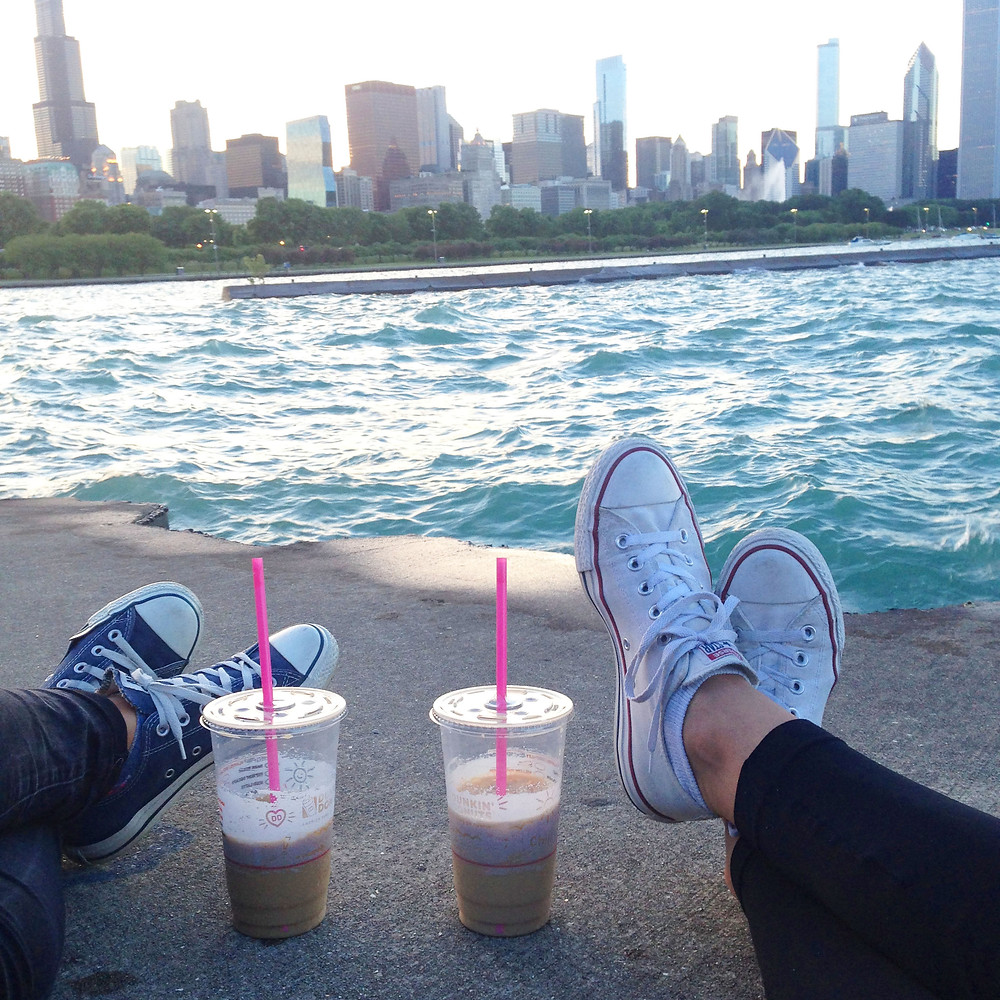 Iced coffee with a view