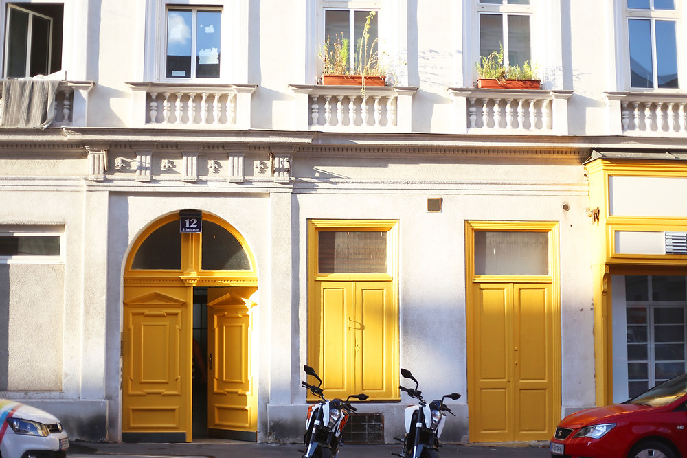 bright yellow doors