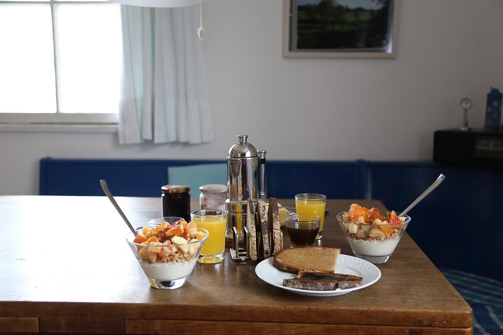 we had muesli, yogurt and toast for breakfast every day