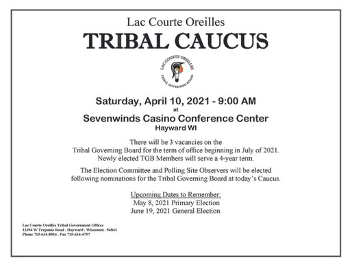 Nominating Caucus to Tribal Governing Board to be held April 10th