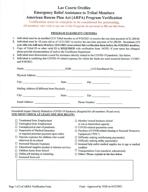 LCO Emergency Relief Verification Form R