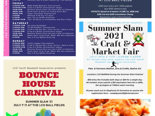 LCO Baseball Program Hosting Summer Slam Festival at the Casino Ball Fields Complex from July 8-11